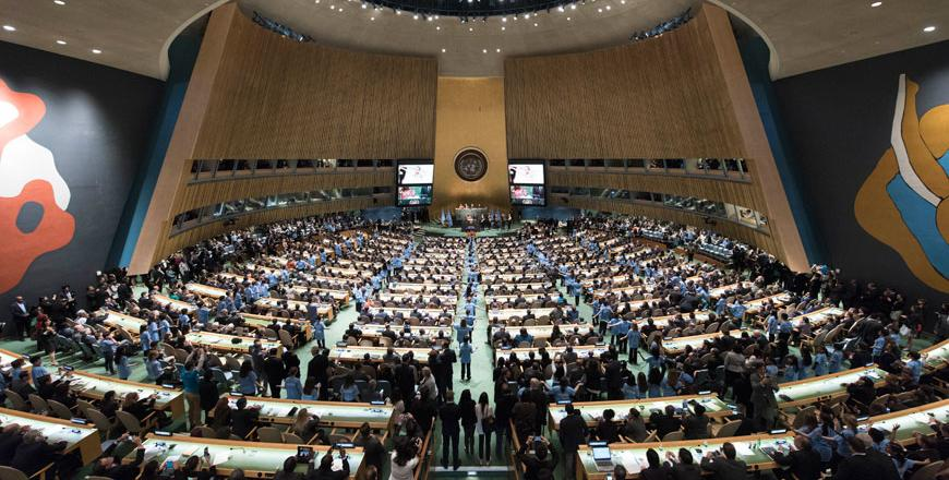 A wide view of the General Assembly at the opening of Friday's signing ceremony for the Paris Agreement on Climate Change in 2015 (Photo courtesy of UN/Mark Garten. Source: jordantimes.com)